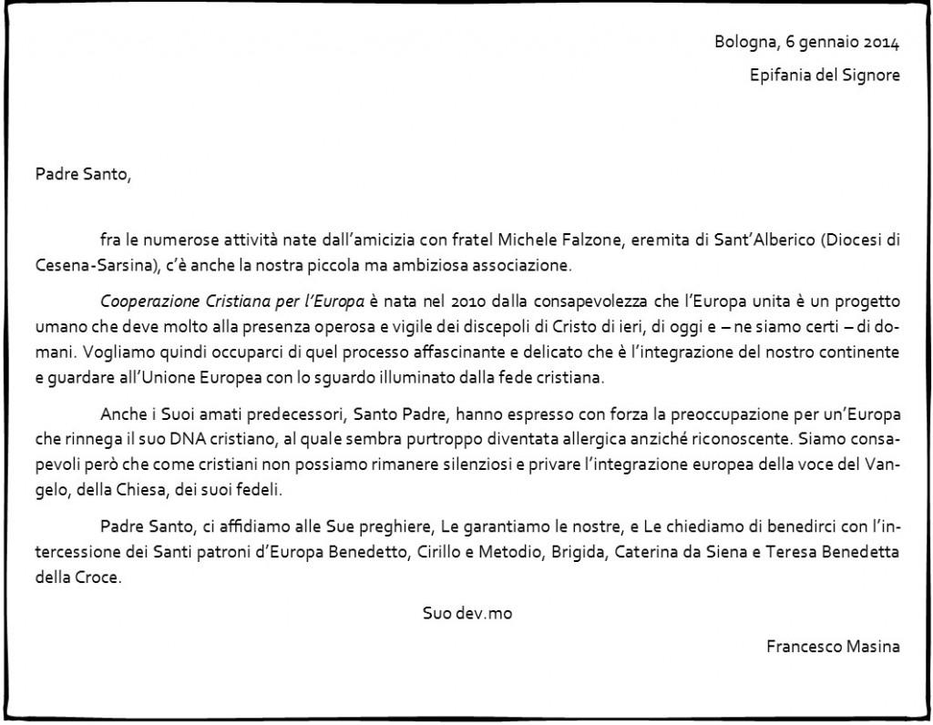 La nostra lettera al Santo Padre